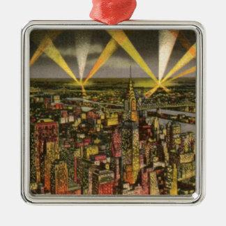 Adorno Metálico Horizonte de New York City del vintage