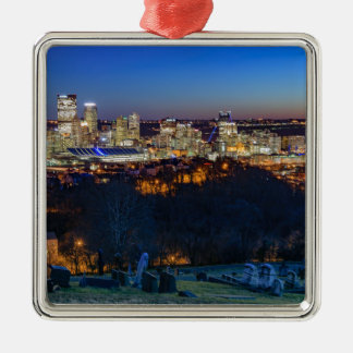 Adorno Metálico Horizonte de Pittsburgh en la puesta del sol