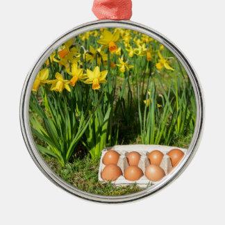Adorno Metálico Huevos en caja en hierba con los narcisos