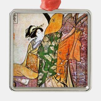 Adorno Metálico Ilustraciones japonesas del geisha del vintage