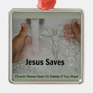 Adorno Metálico Jesús en agua con dos pulgares sube la promoción