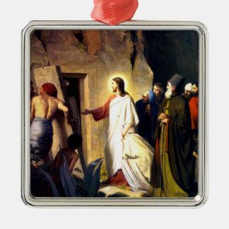 Adorno Metálico Jesús que cría a Lazarus de los muertos
