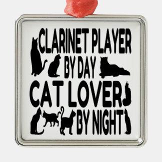 Adorno Metálico Jugador del Clarinet del amante del gato