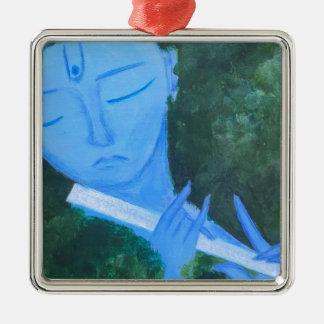 Adorno Metálico Krishna con la flauta