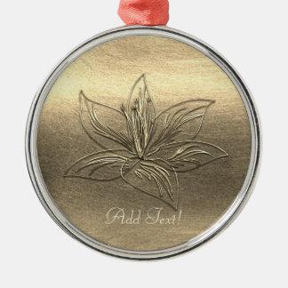 Adorno Metálico La flor bonita del lirio del oro floral añade el