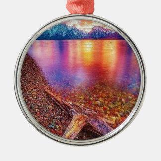 Adorno Metálico Lago stone de gema