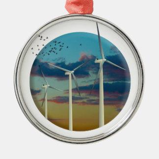 Adorno Metálico Las turbinas de viento pintaron el cielo
