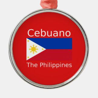 Adorno Metálico Lengua de Cebuano y bandera de Filipinas