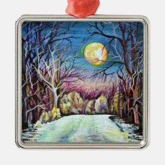 Adorno Metálico Luna Llena del invierno silencioso de la noche en