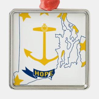 Adorno Metálico Mapa de la bandera de Rhode Island