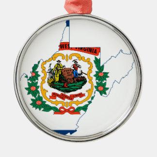 Adorno Metálico Mapa de la bandera de Virginia Occidental