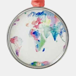 Adorno Metálico mapa del mundo del color de agua