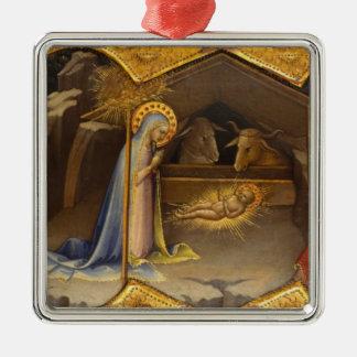 Adorno Metálico Maria y bebé Jesús en pesebre
