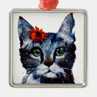 Adorno Metálico Mermelada, el gato lindo que lleva una flor