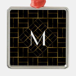 Adorno Metálico Monograma geométrico elegante del modelo del art