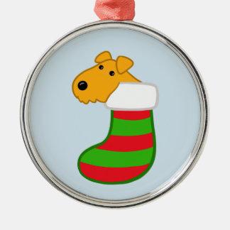 Adorno Metálico Navidad lindo de Kawaii Terrier que almacena el