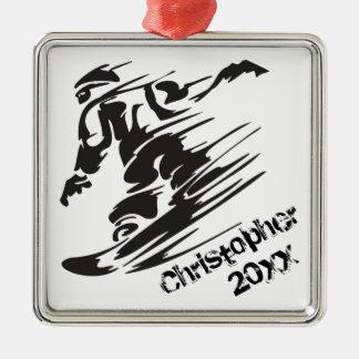 Adorno Metálico Negro personalizado de la snowboard del