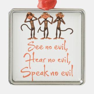 Adorno Metálico No vea ningún mal - no oír ningún mal - no hablar