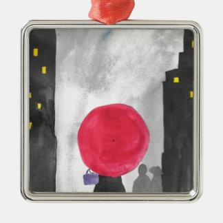 Adorno Metálico Paraguas rojo
