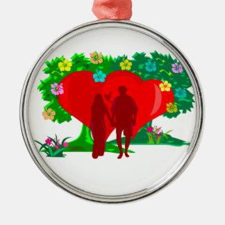 Adorno Metálico pares en corazón y flores rojos