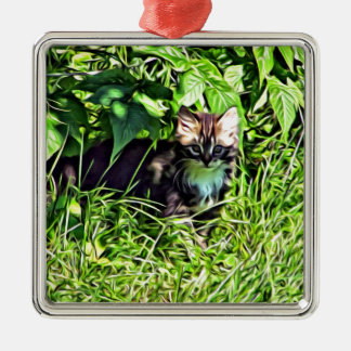 Adorno Metálico Pequeño gatito curioso