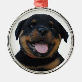 Adorno Metálico Perrito masculino feliz de Rottweiler