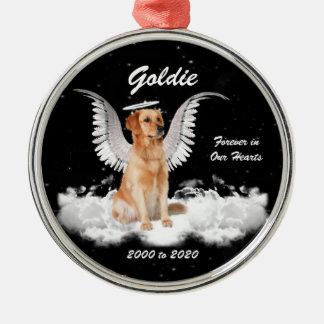 Adorno Metálico Perro de oro del ángel de Gaurdian de las memorias