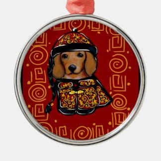 Adorno Metálico Perro rojo del Dachshund del año