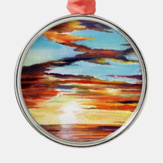 Adorno Metálico Pintura de acrílico de la puesta del sol