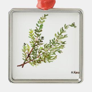 Adorno Metálico Pintura del watercolour de Rosemary de la hierba