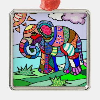 Adorno Metálico Pintura folcloristic abstracta colorida del