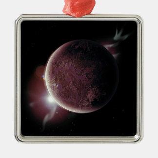 Adorno Metálico planeta rojo en el universo con aureola y