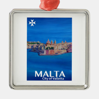 Adorno Metálico Poster retro Malta La Valeta - ciudad de