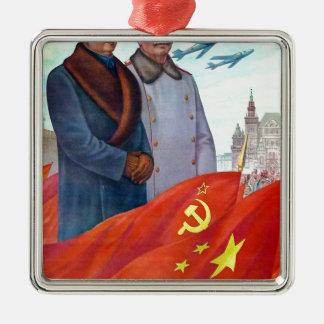 Adorno Metálico Propaganda original Mao Zedong y Joseph Stalin