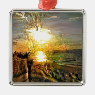 Adorno Metálico Puesta del sol en la playa