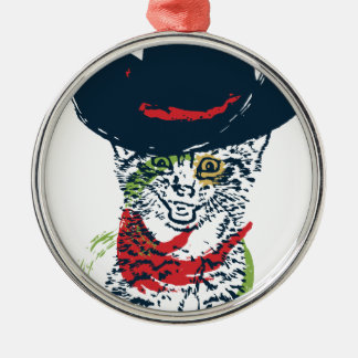 Adorno Metálico Retrato 2 del gato del vaquero del Grunge