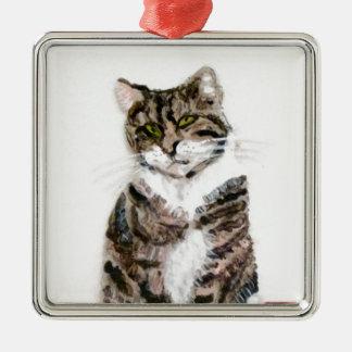 Adorno Metálico Retrato lindo del mascota del gato de Tabby