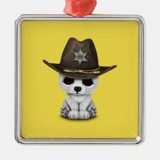 Adorno Metálico Sheriff lindo de Cub del oso polar del bebé
