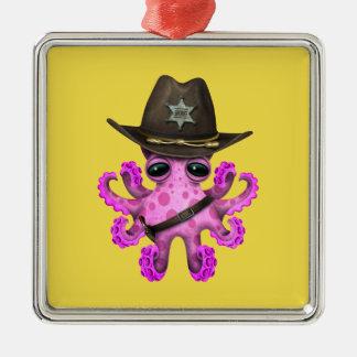Adorno Metálico Sheriff rosado lindo del pulpo del bebé