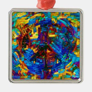 Adorno Metálico Símbolo de paz colorido del mosaico