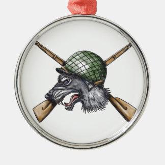 Adorno Metálico Tatuaje cruzado casco de los rifles del lobo gris