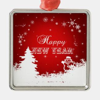 Adorno Metálico Tipografía roja y blanca de la Feliz Año Nuevo