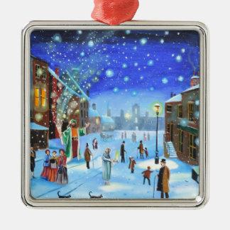 Adorno Metálico Una escena de la calle del invierno de Scrooge del
