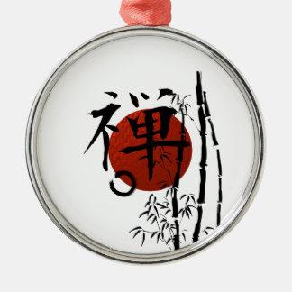 Adorno Metálico Zen del kanji con Enso y el bambú