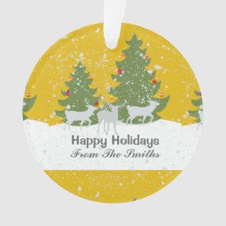 Adorno Navidad de oro de la naturaleza de la nieve del