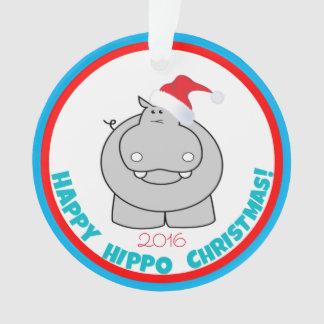 Adorno Navidad feliz del hipopótamo: Recuerdo adorable