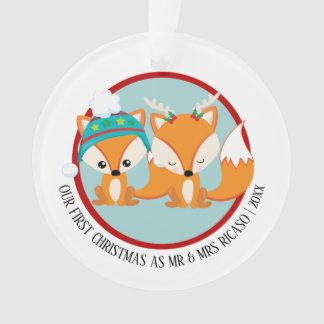Adorno Nuestra foto personalizada roja del Fox del primer