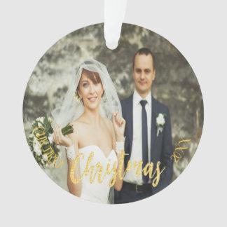 Adorno Oro de encargo de la foto del boda del primer