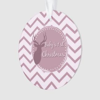 Adorno primer navidad del bebé rosado