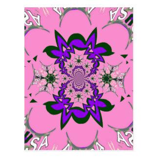 Adorno púrpura floral de la sombra de los rosas postal